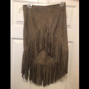 Dresses & Skirts - Tan suede beige skirt with fringe